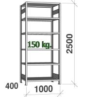 Varastohylly perusosa 2500x1000x400 150kg/hyllytaso,6 tasoa