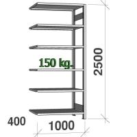 Varastohylly jatko-osa 2500x1000x400 150kg/hyllytaso,6 tasoa