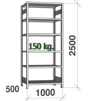 Varastohylly perusosa 2500x1000x500 150kg/hyllytaso,6 tasoa