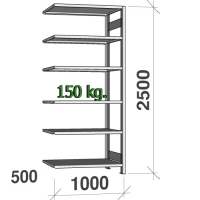 Varastohylly jatko-osa 2500x1000x500 150kg/hyllytaso,6 tasoa