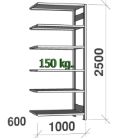Varastohylly jatko-osa 2500x1000x600 150kg/hyllytaso,6 tasoa