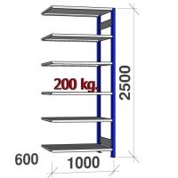 Pientavarahylly jatko-osa 2500x1000x600 200kg/hyllytaso,6 tasoa, sininen/Zn