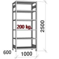 Varastohylly perusosa 2500x1000x600 200kg/hyllytaso,6 tasoa