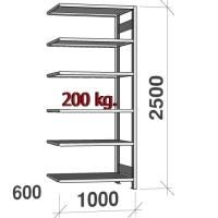 Varastohylly jatko-osa 2500x1000x600 200kg/hyllytaso,6 tasoa