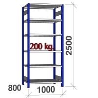 Pientavarahylly perusosa 2500x1000x800 200kg/hyllytaso,6 tasoa, sininen/Zn