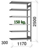 Varastohylly jatko-osa 2500x1170x300 200kg/hyllytaso,6 tasoa