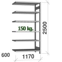 Varastohylly jatko-osa 2500x1170x600 150kg/hyllytaso,6 tasoa