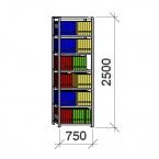 Arkistohylly perusosa 2500x750x300 200kg/hyllytaso,7 tasoa