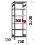 Varastohylly perusosa 2500x750x300 200kg/hyllytaso,6 tasoa