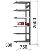 Varastohylly jatko-osa 2500x750x300 200kg/hyllytaso,6 tasoa