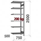 Varastohylly jatko-osa, 2500x750x500 200kg/hyllytaso,6 tasoa