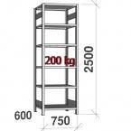 Varastohylly perusosa 2500x750x600 200kg/hyllytaso,6 tasoa