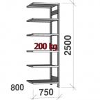 Varastohylly jatko-osa 2500x750x800 200kg/hyllytaso,6 tasoa