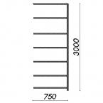 Varastohylly jatko-osa 3000x750x400 200kg/hyllytaso,7 tasoa