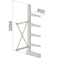Ulokehylly jatko-osa 3000x1000x800,5 tasoa