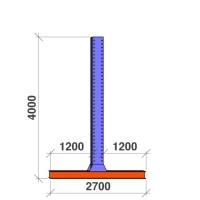 T-pylväs 2-puolinen 4000x2x1200