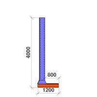 L-pylväs 1-puolinen 4000x800
