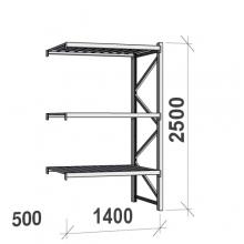 Varastohylly jatko-osa 2500x1400x500 600kg/hyllytaso,3 tasoa peltitasoilla
