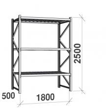 Varastohylly perusosa 2500x1800x500 480kg/hyllytaso,3 tasoa peltitasoilla