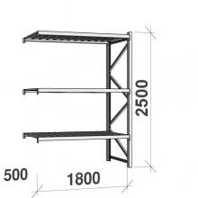 Varastohylly jatko-osa 2500x1800x500 480kg/hyllytaso,3 tasoa peltitasoilla