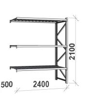 Varastohylly jatko-osa 2100x2400x500 300kg/hyllytaso,3 tasoa peltitasoilla
