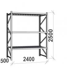 Varastohylly perusosa 2500x2400x500 300kg/hyllytaso,3 tasoa peltitasoilla