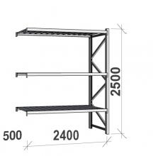 Varastohylly jatko-osa 2500x2400x500 300kg/hyllytaso,3 tasoa peltitasoilla