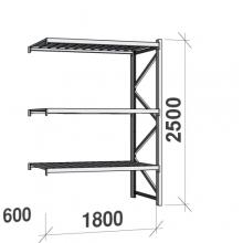 Varastohylly jatko-osa 2500x1800x600 480kg/hyllytaso,3 tasoa peltitasoilla