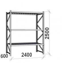 Varastohylly perusosa 2500x2400x600 300kg/hyllytaso,3 tasoa peltitasoilla