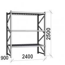 Varastohylly perusosa 2500x2400x900 300kg/hyllytaso,3 tasoa peltitasoilla