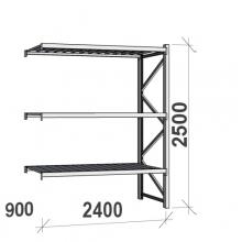 Varastohylly jatko-osa 2500x2400x900 300kg/hyllytaso,3 tasoa peltitasoilla