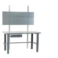 Työpiste 1500x800 terästaso, maalatut jalat, pöytälaatikko, reikälevy