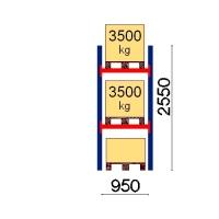 Kuormalavahylly perusosa 2550x950 3500kg/lava,3 EUR lavapaikkaa