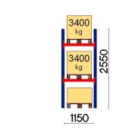 Kuormalavahylly perusosa 2550x1150 3400kg/lava,3 FIN lavapaikkaa