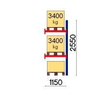 Kuormalavahylly jatko-osa 2550x1150 3400kg/lava,3 FIN lavapaikkaa