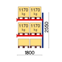 Kuormalavahylly jatko-osa 2550x1800 1170kg/lava,6 EUR lavapaikkaa