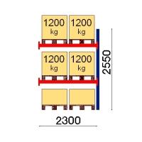 Kuormalavahylly jatko-osa 2550x2300 1200kg/lava,6 FIN lavapaikkaa