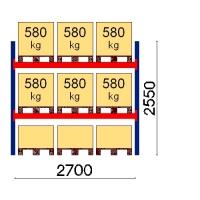 Kuormalavahylly perusosa 2550x2700 580kg/lava,9 EUR lavapaikkaa