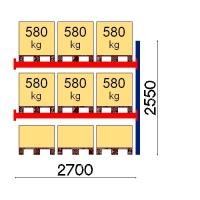 Kuormalavahylly jatko-osa 2550x2700 580kg/lava,9 EUR lavapaikkaa