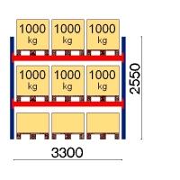 Kuormalavahylly perusosa 2550x3300 1000kg/lava,9 FIN lavapaikkaa
