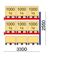 Kuormalavahylly jatko-osa 2550x3300 1000kg/lava,9 FIN lavapaikkaa