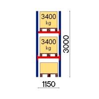 Kuormalavahylly perusosa 3000x1150 3400kg/lava,3 FIN lavapaikkaa