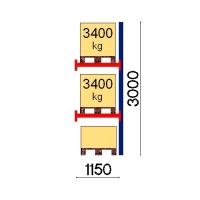 Kuormalavahylly jatko-osa 3000x1150 3400kg/lava,3 FIN lavapaikkaa