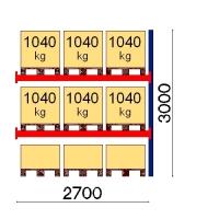 Kuormalavahylly jatko-osa 3000x2700 1041kg/lava,9 EUR lavapaikkaa
