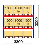 Kuormalavahylly perusosa 3000x3300 1000kg/lava,9 FIN lavapaikkaa
