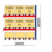 Kuormalavahylly jatko-osa 3000x3300 1000kg/lava,9 FIN lavapaikkaa