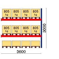 Kuormalavahylly jatko-osa 3000x3600 805kg/lava,12 EUR lavapaikkaa