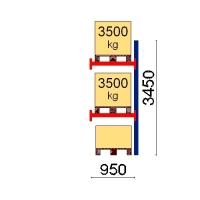 Kuormalavahylly jatko-osa 3450x950 3500kg/lava,3 EUR lavapaikkaa