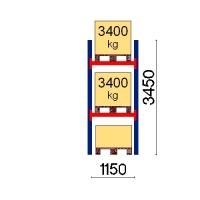 Kuormalavahylly perusosa 3450x1150 3400kg/lava,3 FIN lavapaikkaa