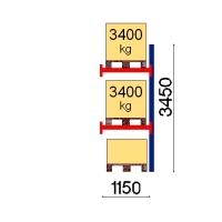 Kuormalavahylly jatko-osa 3450x1150 3400kg/lava,3 FIN lavapaikkaa